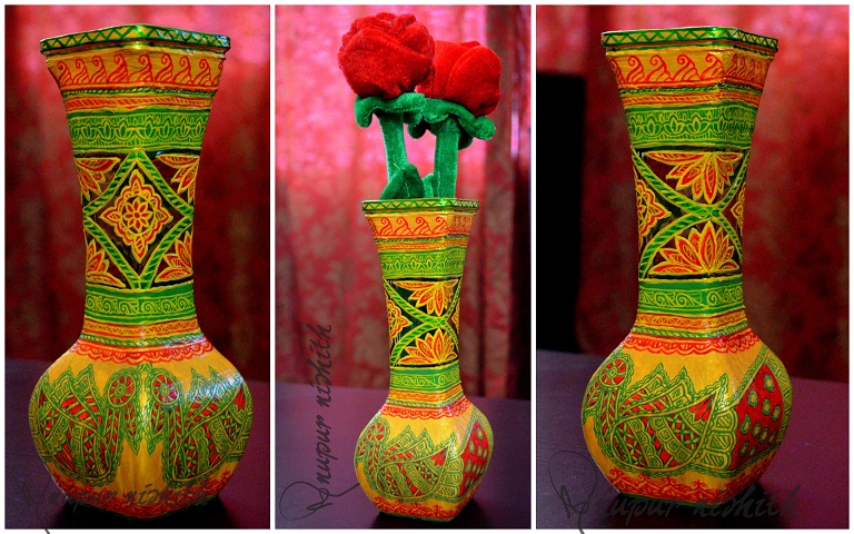 Glass Vase Handpainted In Mithila Painting Yellow Base Creative
